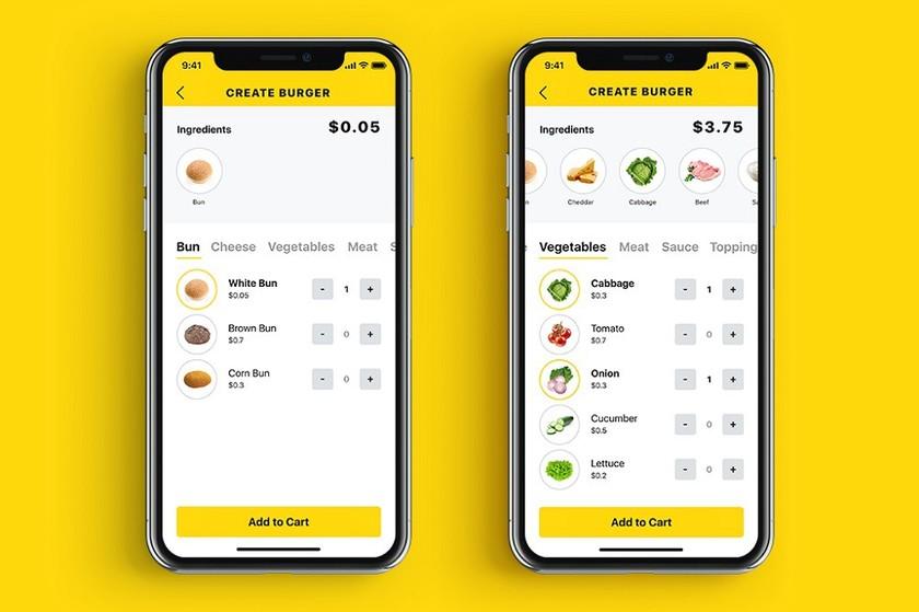 Tasty burger customize screens